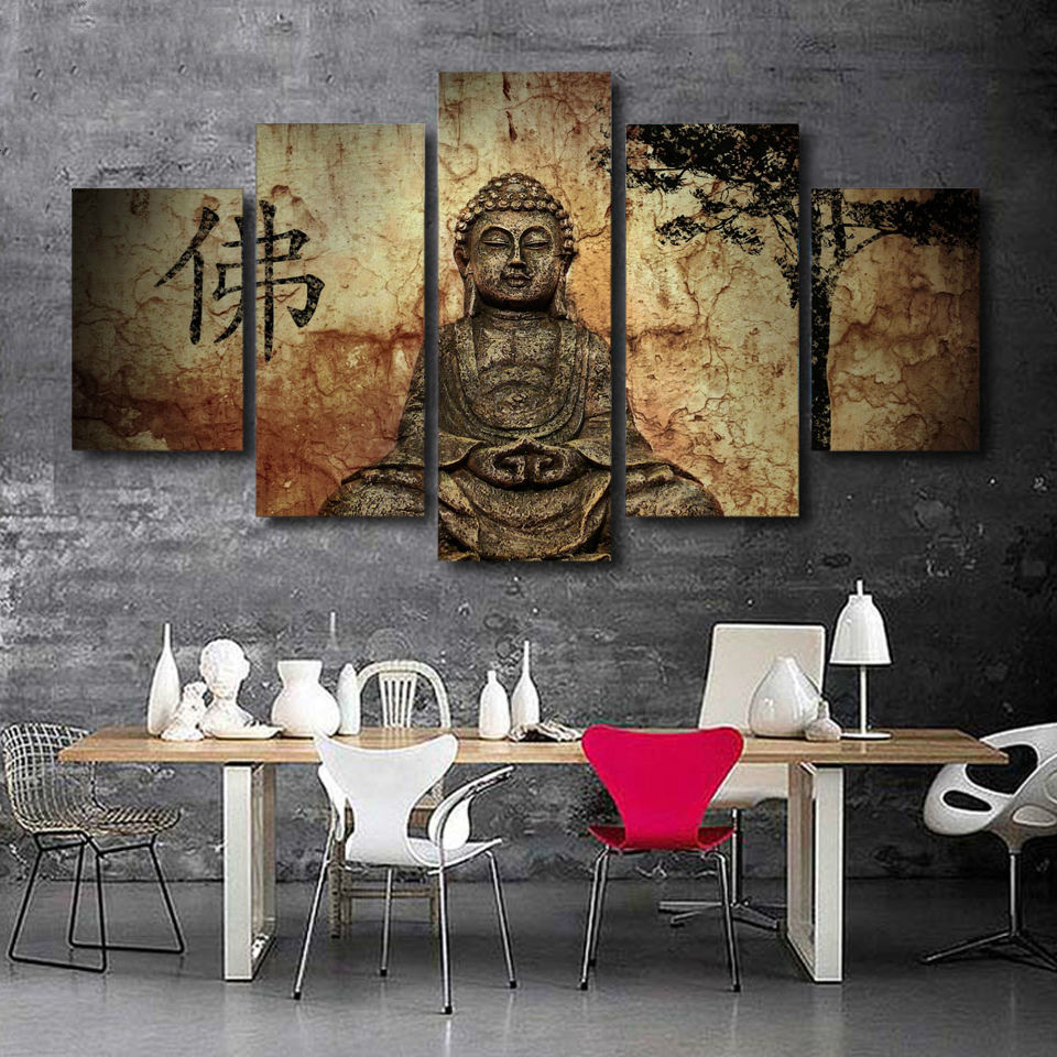 HD Prints Canvas Wall Art Pictures Home Decor Room 5 Pieces Buddha Combine Paintings Modular Vintage Zen Buddha Poster