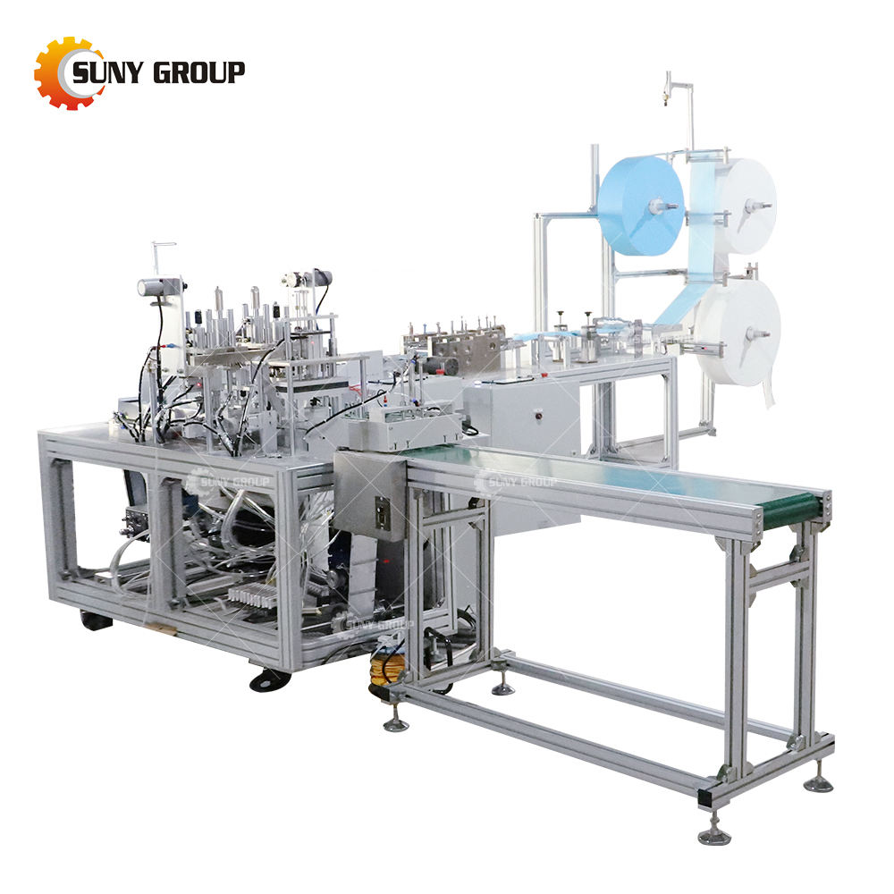 Fully Automatic Non Woven Folded Disposable Surgical 3 Ply Medical Ear-loop Type Face Mask Making Machine