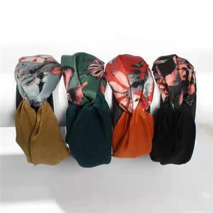 European style Fancy women hair accessories flower fabric wide headbands for women girls long hair
