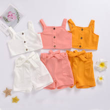 Baby Girl Clothes Two-piece set Summer Fashion Sleeveless Solid Cotton Vest Top+Short