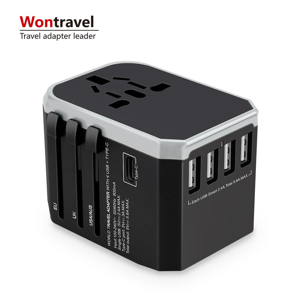 International Travel adapter Typ C ladegerät 5600mA USB quick charge power adapter universal multi stecker buchse