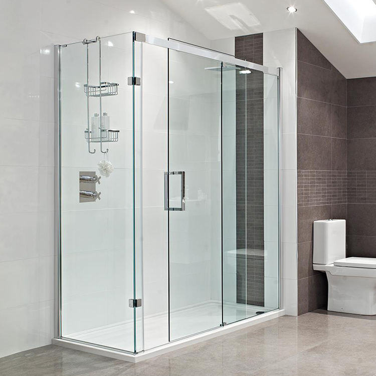 modern sliding colored frosted laminated double tempered glass shower door for bathroom design