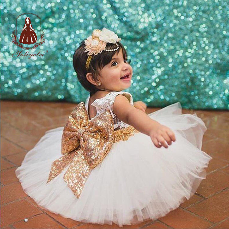 2020 New Fashion Sequin Flower Girl Dress Party Birthday Toddler Baby Girls Clothes Wedding Princess Children Kids Girl Dresses