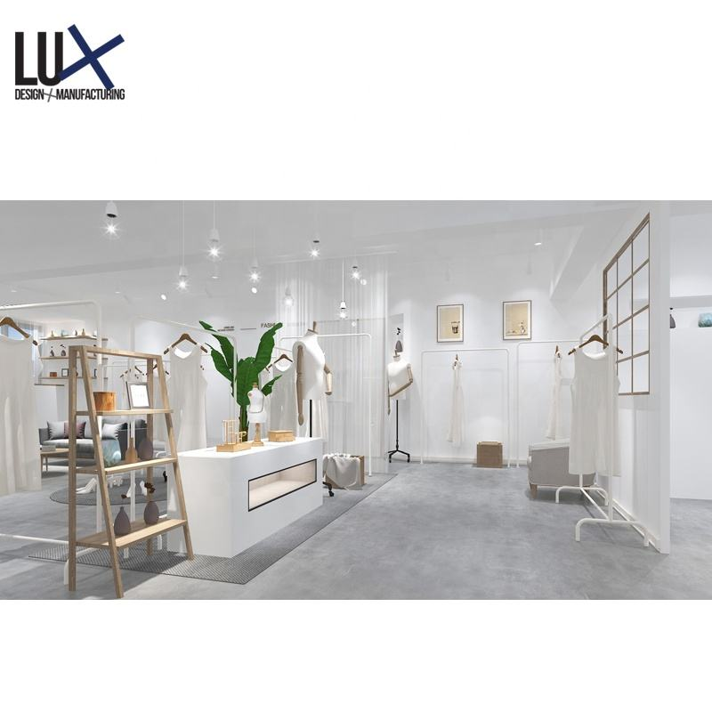 LUX Design Luxury Style Apparel Decoration Garment Showroom Display Clothes Shop Fitting Retail For Flagship Store