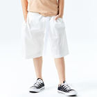 DATA STUDIO Breathable Summer Loose Elastic Waist White Causal Solid Knee-Length Shorts Boys
