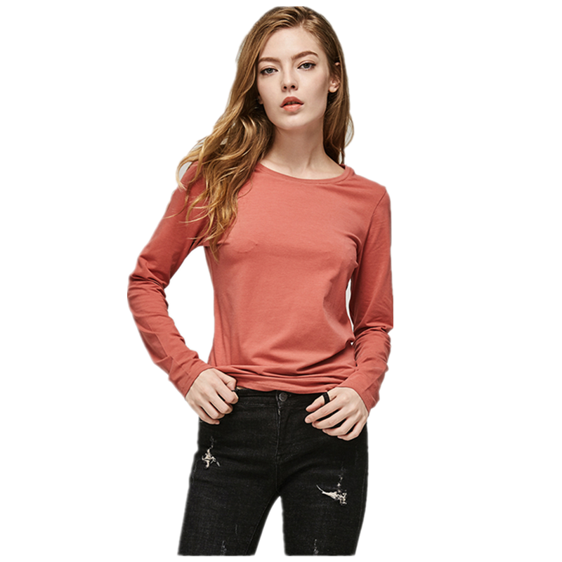custom printing logo solid color women plain t shirt 100% cotton full sleeve female casual wear long sleeve t shirt womens tee