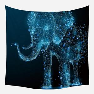 blacklight glow in the dark moon space elephant celestial psychedelic tapestry