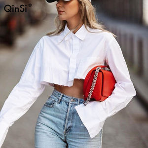 QINSI Autumn 2020 Cotton Women Clothing Ladies Tops Casual Ladies' Blouses Turn Down Collar Long Sleeve Womens Crop Top
