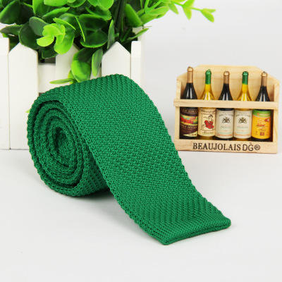 New High Quality Pure Color Knit Tie Men's Ultra Narrow 5cm Casual Flat Head Tie