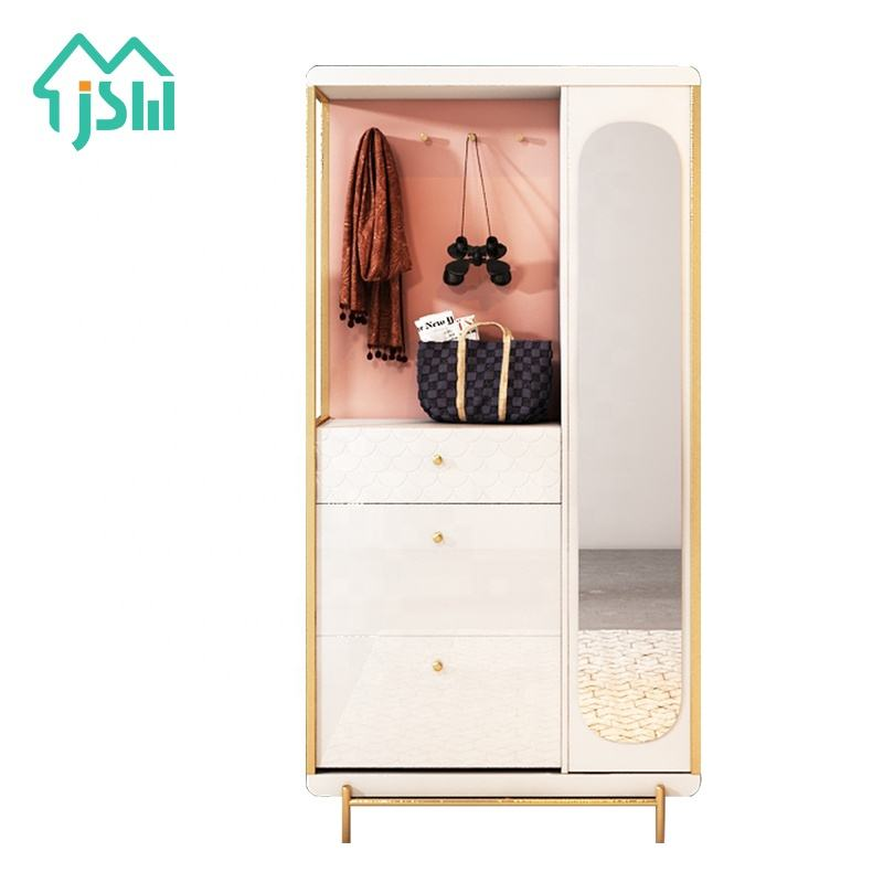 Gold Stainless Steel Frame Furniture White And Pink Shoe Cabinet With Mirror