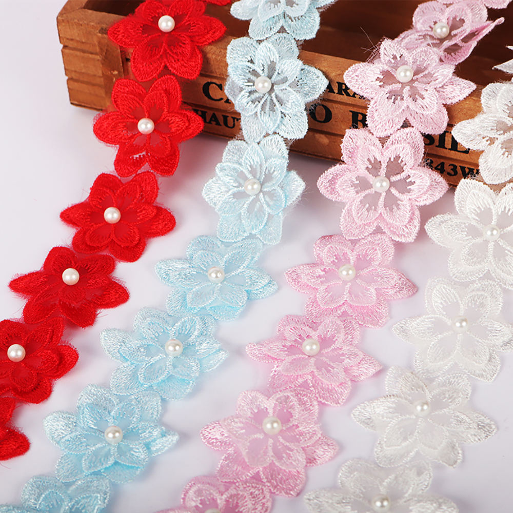1yard 45mm DIY Patchwork Sewing Garment Decor Accessories Flower Pearl Trim Lace Embroidery Ribbons 050025245