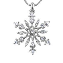 Silver Tone Snowflake Crystal Pendant Necklace Winter Christmas Gift