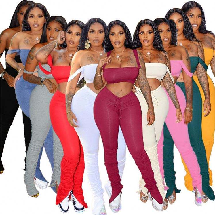 W7099 Off Shoulder Women Pant Sets Stacked Leggings Set 2 Piece Set Women Clothing Sexy