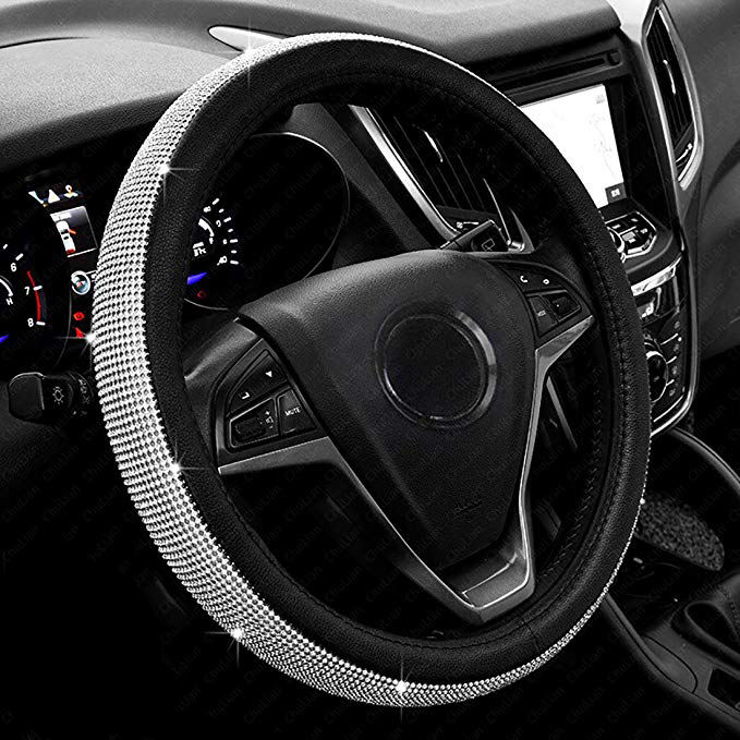 Bling Bling Crystal Rhinestones Universal Fit 15 Inch Anti-Slip Wheel New Diamond Leather Car Steering Wheel Cover