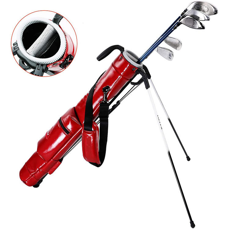 Customized red pu leather 2 way dividers ladies red half golf sundays bag custom made golf gun bags with plastic handle