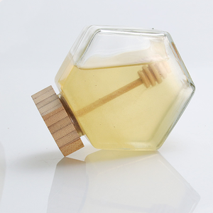 100ml 380ml Food Storage Containers Hexagonal Glass Honey Jar Pot with Bamboo Lid