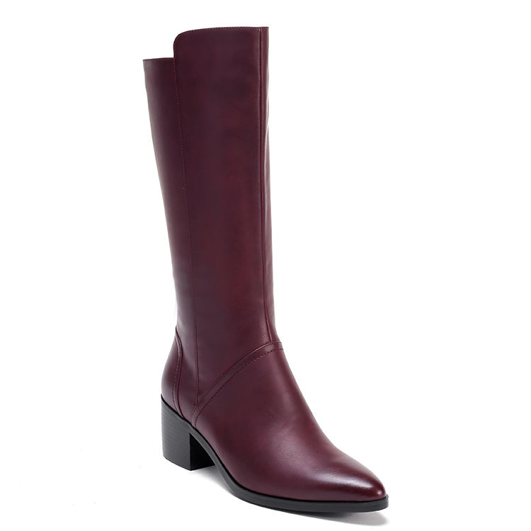 Fashion Burgundy Orange Black Boots Women Shoes Winter Knee High Leather Winter Boots Ladies