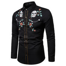 2019 Men's Fashion Embroidered American Western Cowboy Style Shirt Skull Head Rose Long Sleeve Shirt factory.