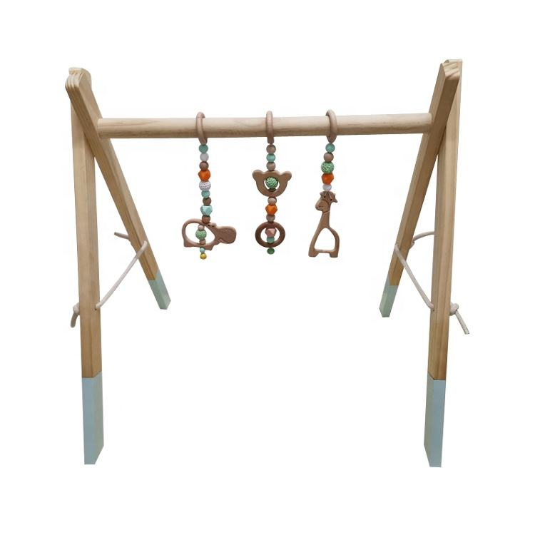 Wholesales Natural Activity Wooden Baby Gym toys Funny indoor baby play mat gym Wood Play Gym Frame