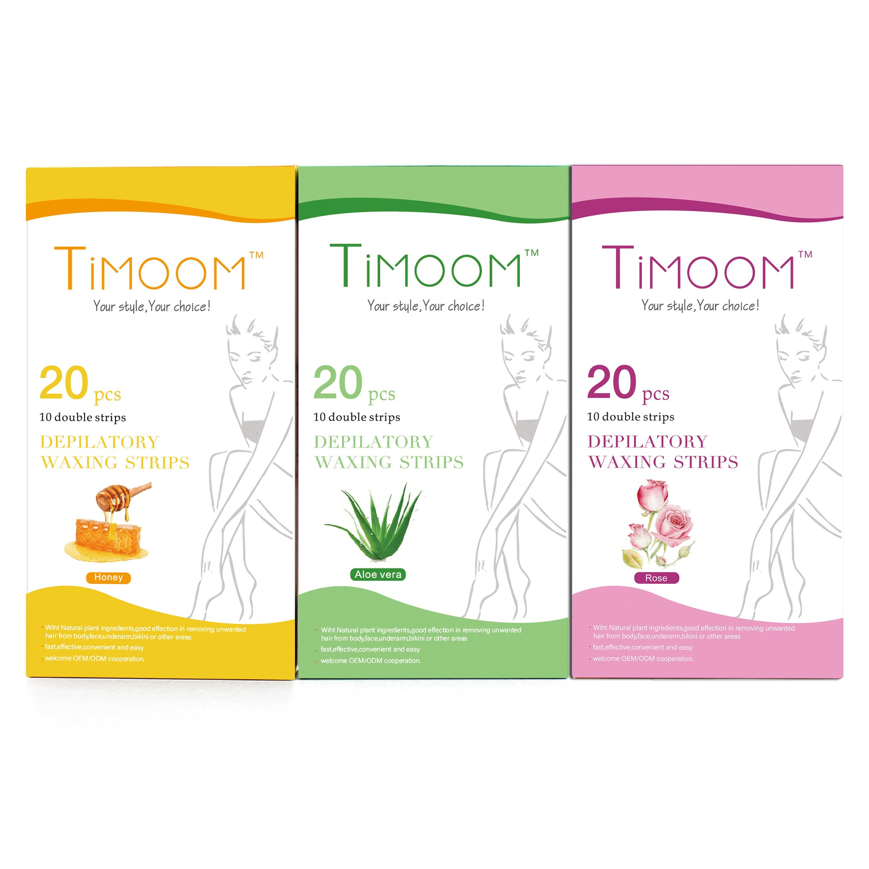 Free Sample Hot sale Factory TIMOOM 20 pcs Hair Removal Depilatory portable Waxing Strips Disposable waxing strips body use