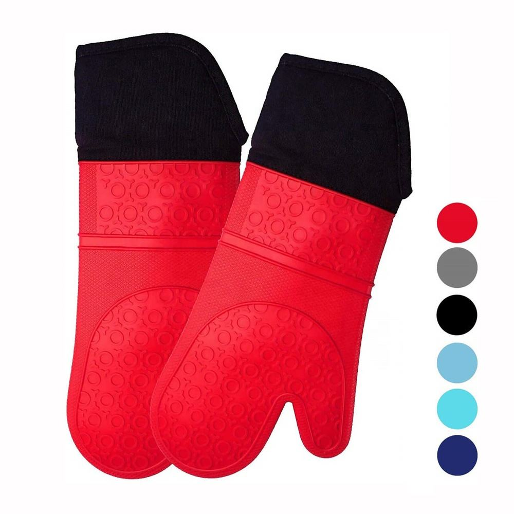 Multifunction Extra Long Professional Heat Resistant Pot Holders Flexible Oven Gloves Silicone Oven Mitt