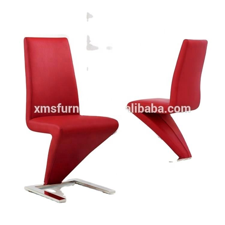 Stylish Chromed Finish Leg Z Shape Chair with White PU Leather Covers
