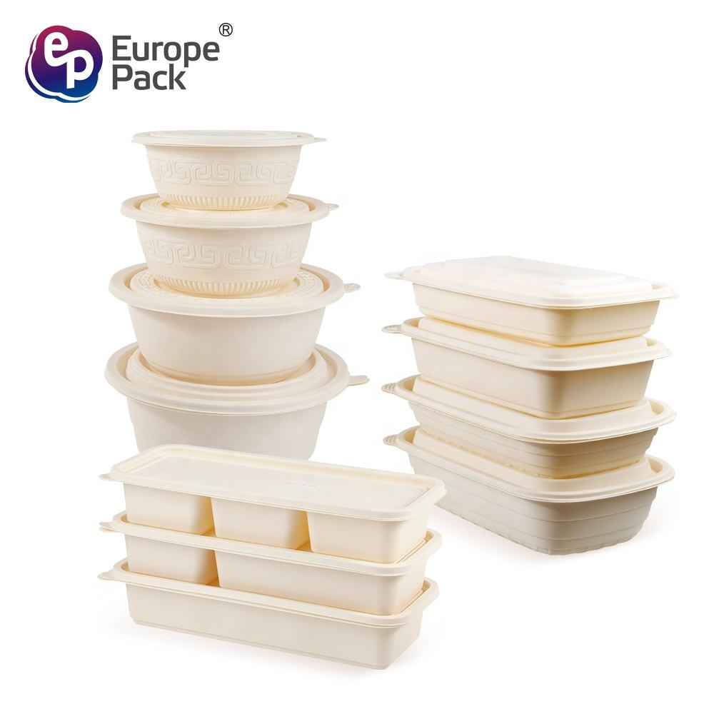 Wholesale Takeaway Bio Degradable Cornstarch takeout round square Packaging Food Container