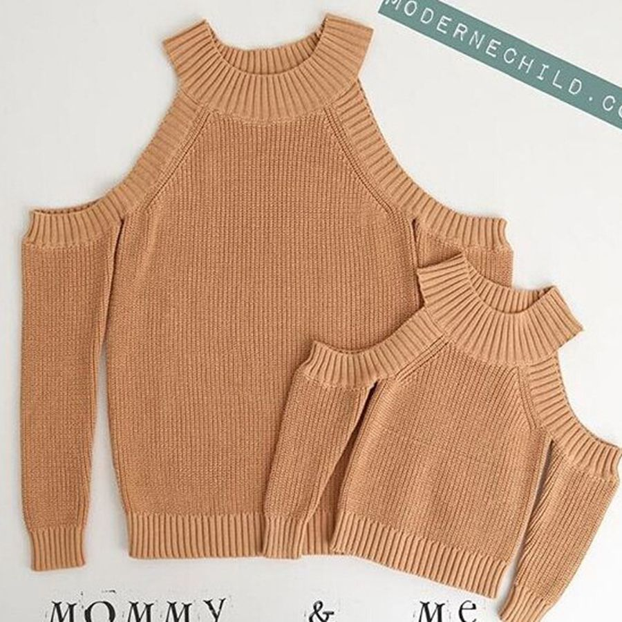 Spring And Autumn Mommy And Me Outfits Casual Knit Sweater Long Sleeve Shoulder Baby Clothes Girls Clothes