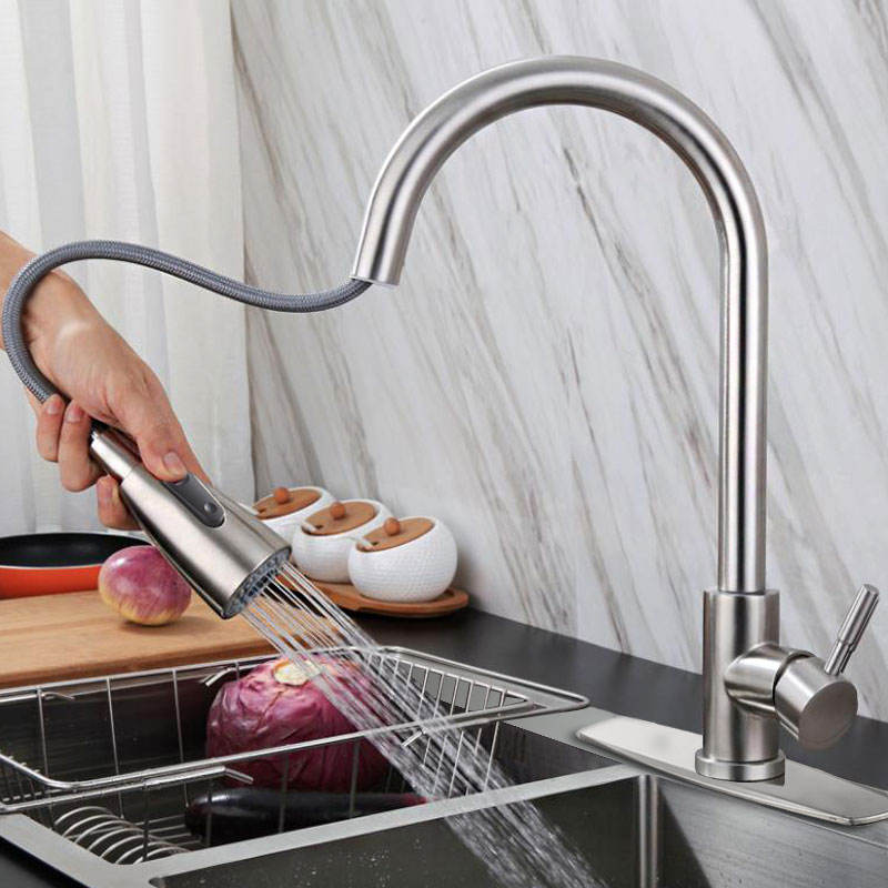 Faucet Single Hole Pull Out Spout Kitchen Sink Mixer Tap Stream Sprayer Head Chrome/Black Kitchen faucet