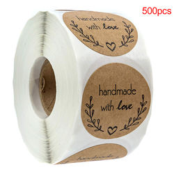 500pcs/roll 1Inch Natural Kraft Olive Branch Handmade With L