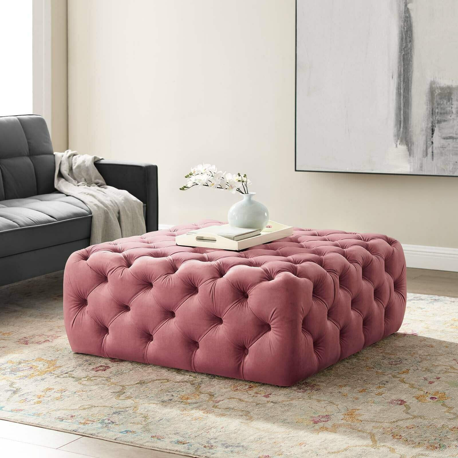 fast ship Tufted Button Large Performance Velvet Ottoman manufacturer