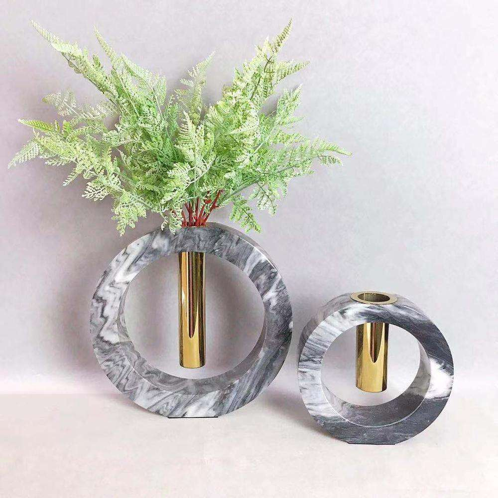 Modern circle genuine natural marble tabletop decor flower vase with golden metal tube