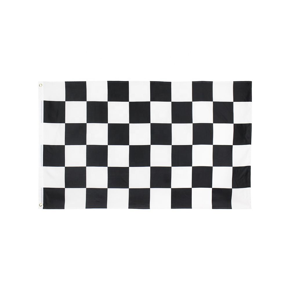 Wholesale Party Use Hang Checkered Racing Car Standard Polyester Digital Printed Team Club Flag