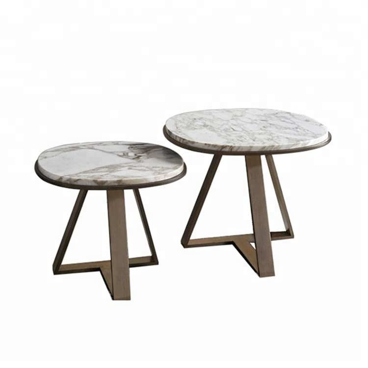 Caffè in marmo Acciaio Inox Divano Lato Tavoli per L'arte Mobili Usati Oro di Caffè Tavolo