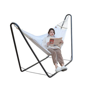 white cotton canvas curved rod anti-rollover patio hammock with stand