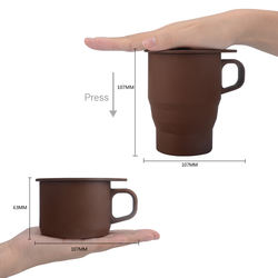 YF 2020 New Design Promotional Gift Wholesale Silicone Folding Coffee Mug With Straw
