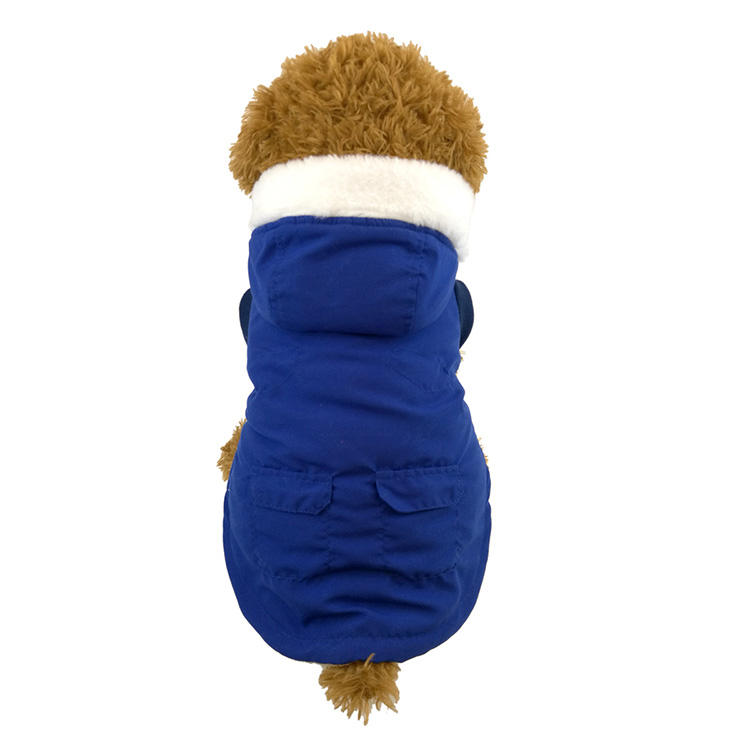 2020 autumn and winter cold and warm wrap head hat army green brushed fabric and Navy lamb wool pet jacket