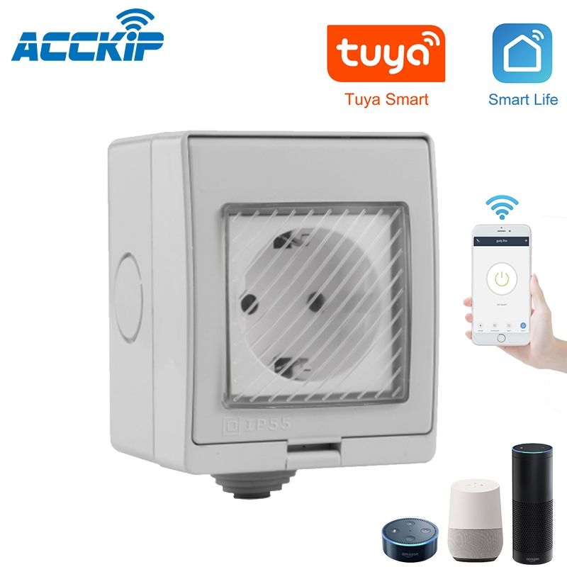 ACCKIP WiFi Smart IP55 Wasserdichte Design-Buchse für Android IOS für Google Wifi Switch Home Wand schalter Smart Automation EU-Stecker