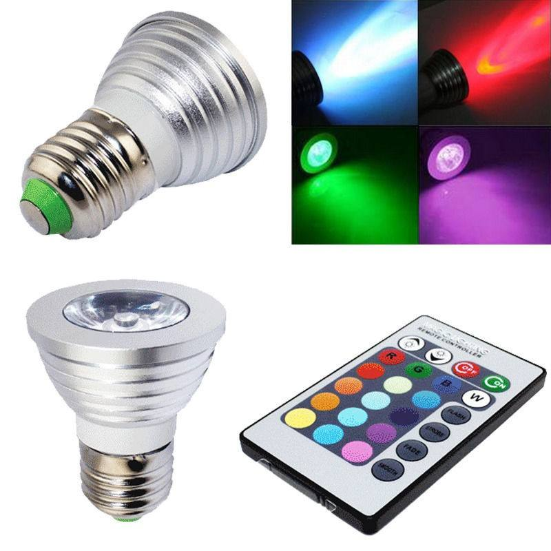 3W RGB LED Bulb E27 E14 GU10 AC 110V 220V LED lamp with IR Remote Control Dimmer Holiday Decor Colorful Night lighting
