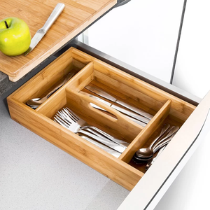 6 Compartment Dividers Kitchen Bamboo Cutlery Tray With Handle For Utensil Silverware Drawer Storage
