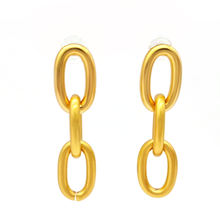 European Simple Design Vintage Chain Earrings Gold Plated Minimalist Drop Earrings For Girls
