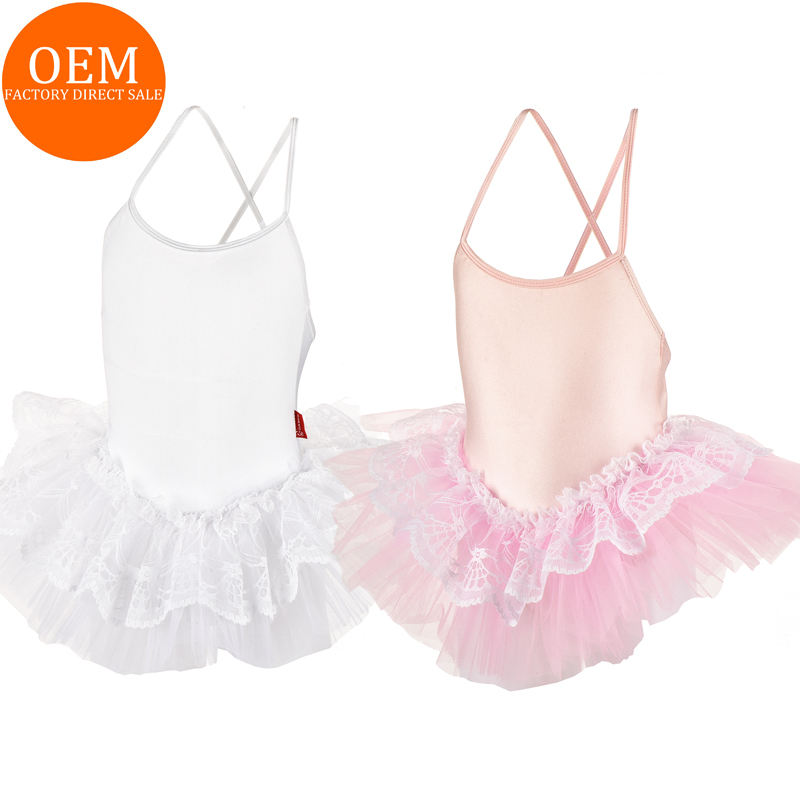 LY00111Wholesale High Quality White Lycra Leotard tutu dress Girls Ballet Leotard With Skirt