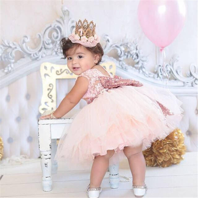 Wholesale birthday wedding party wear flower girl princess dresses for baby girls