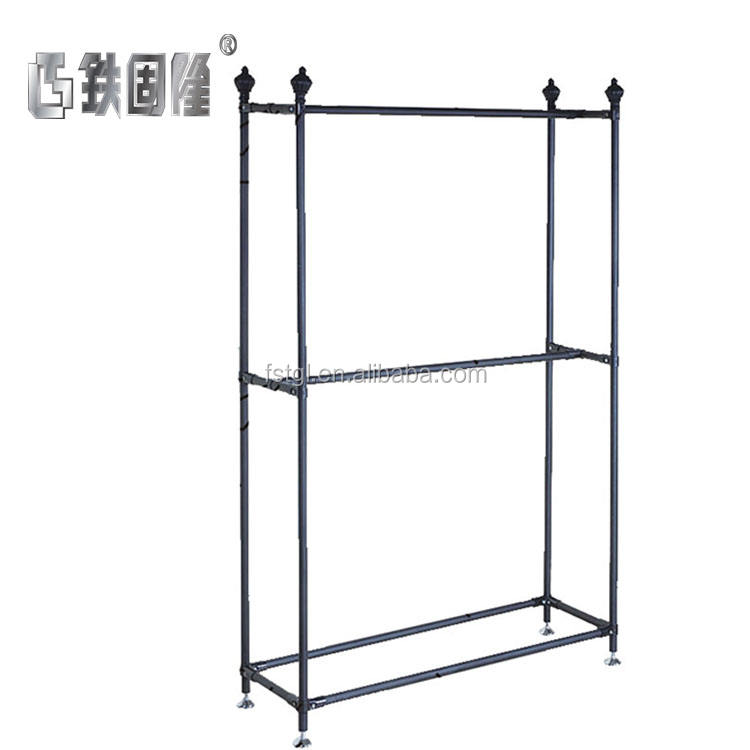 high quality garment store furniture fixtures display table and metal hanging clothes display racks for shop