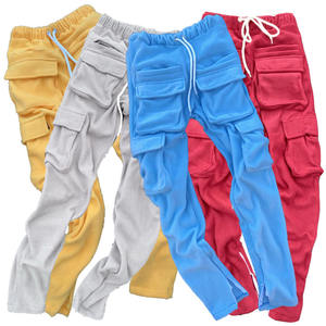 Hot sale popular fashion custom drawstring wholesale price 4 cargo pocket ankle zipper men fleece jogger pants