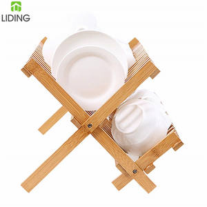 Modern Premium Wooden Bamboo dish drying rack for kitchen Bamboo Dish and Bowl Rack