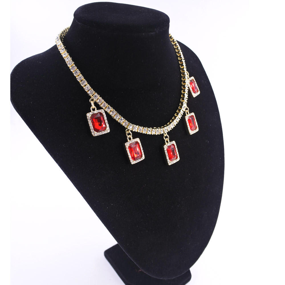 HIP HOP necklace jewelry cz tennis choker ruby necklace