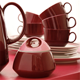 China Tea Set Coffee Set Advanced Design Morden Royal China Red Glossy Tall Tea Pot Coffee Cup Afternoon Porcelain Tea Set