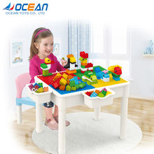 Multifunctional 60pcs building block toys educational learning table with chair storage box