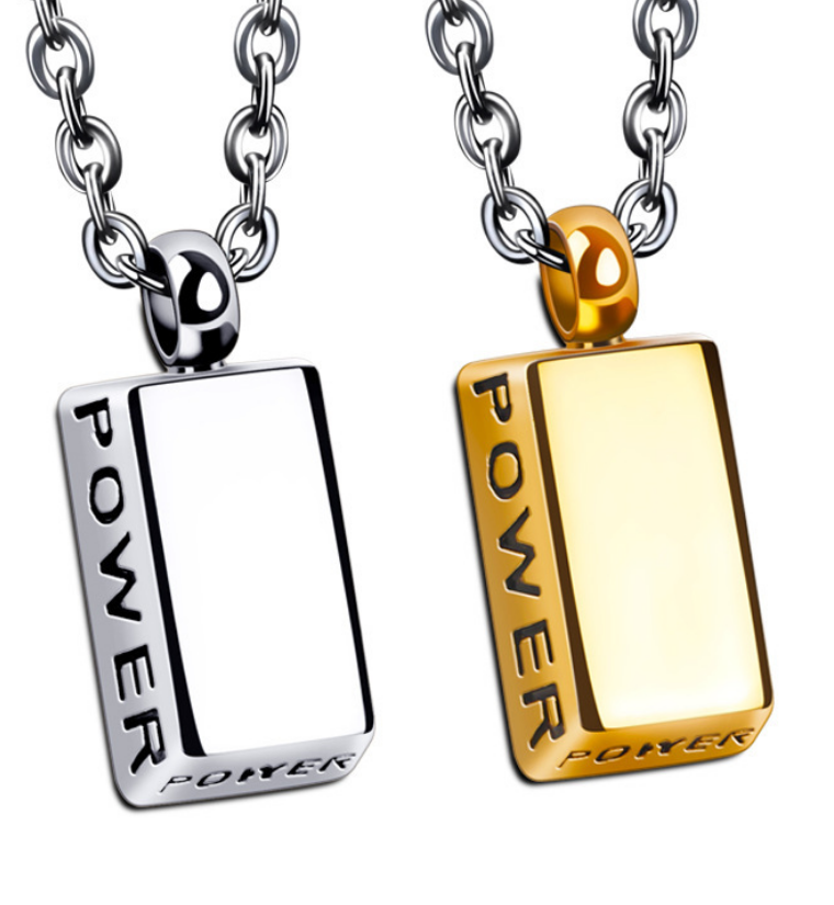 Power letter enragved 18KT Gold bargold brick Bullion shield Men's Necklace chain Stainless Steel pendant charms jewelry